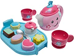 """Pinkies up! Tea time is extra sweet with the Laugh & Learn Sweet Manners Tea Set and its magical, light-up teapot. As toddlers """"pour"""" out their tea, the spout lights up and plays fun songs, sounds, and more! Press thetea bag button for e..."""