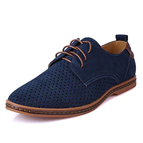 Scarpe Business OUTS Scarpe in da Oxford Uomini Punta Respirabile Pelle per Brevetto Hollow Vestito Gli Scarpe Ginnastica Blu di Uomini xUwzPB