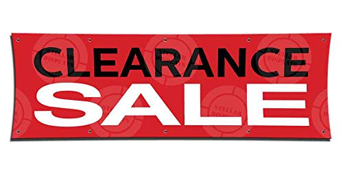 Clearance Sale (3ft X 9ft) Banner Clearance Display Discount Poster Open Sign Red Tag Retail Shop