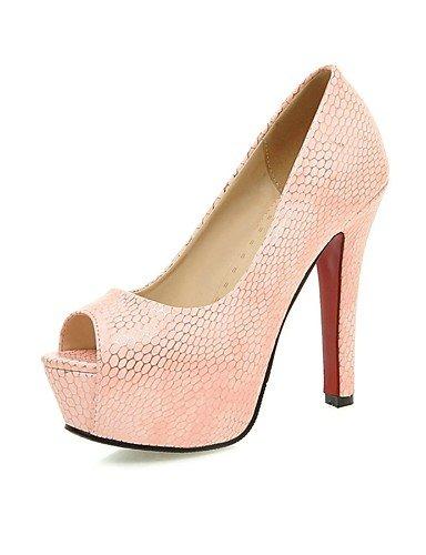 amp; de oficina over los de talón aguja de 5in zapatos sandalias YHUJI peep las plataforma pink amp; GGX pink 5in mujeres amp; de de sintético cuero de tacón over nbsp;carrera toe RCx5S8wq5