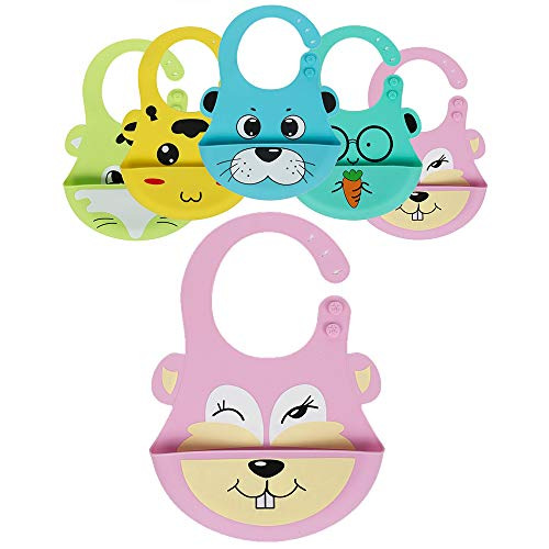 Gift Boxed Cute Silicone Baby Bib! Soft & Light Weight (Pink Bunny)