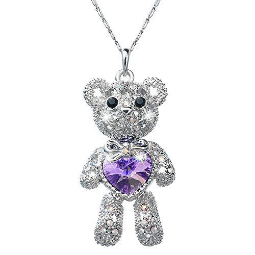 (Pendant Necklace with Swarovski Crystals Teddy Bear Love Heart Charm Rhodium Plated Chain Length 16.5