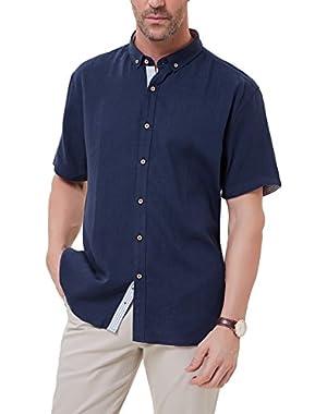 Men's Short Sleeve Button Down Casual Shirt Soft Linen Shirts