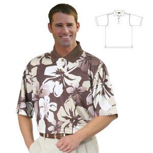 Monterey Club Mens Dry Swing Mini Matrix Textured Giant Hawaiian Print Shirt #1577 (Cognac/Khaki, (Dry Cognac)