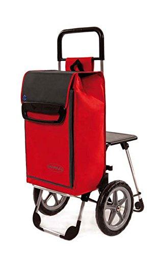108cm Extragro/ße R/äder Einkaufstrolley Relax Farbe Rot Mit Sitz Gr/ö/ße 65 Liter H/öhe Ca