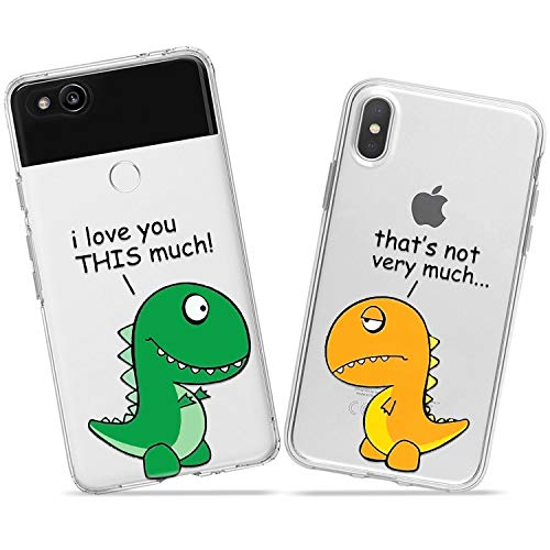 Wonder Wild Dinosaur Love Couple Case iPhone Xs Max X Xr 10 8 Plus 7 6s 6 SE 5s 5 TPU Clear Gift Apple Phone Cover Print Protective Double Pack Silicone Funny Sweet Reptiles Cute Colorful Bright New]()