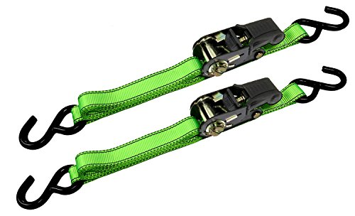 Premium Ratchet Tie Downs - 2 Pk - 8 Ft - 500 Lbs Load Cap - 1,500 Lbs Break Strength - Cargo Straps for Moving Appliances, Lawn Equipment, Motorcycles, etc. - GREEN (Tie Allied International Down)