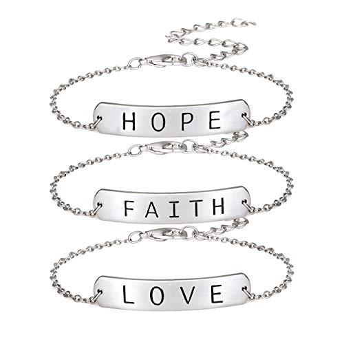 - ALEXY Women's Link Charm Bracelet Unicorn Clover Star Heart Pendant Charms Bracelet Bangles for Girls (D 3PC Silver)