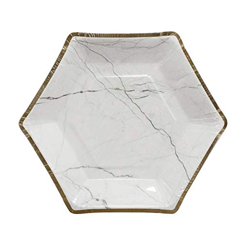 "Home Expressions 10 Pack Hexagon Shaped Disposable Paper with Foil Party Plates (White Marble, 9"" Dinner)"
