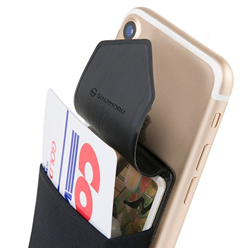 SINJIMOURU Credit Card Holder for Back of Phone, Stick on Wallet functioning as Phone Card Holder, Phone Card Wallet, iPhone Card Holder / Credit Card Case for Cell Phone. Sinji Pouch Flap, Black.
