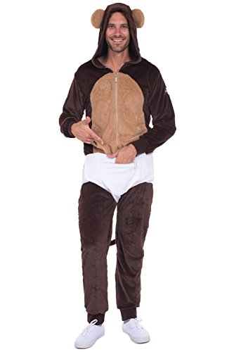 Men's Monkey Halloween Costume - Monkey Jumpsuit with Diaper: Large (Monkey Halloween Costume For Adults)