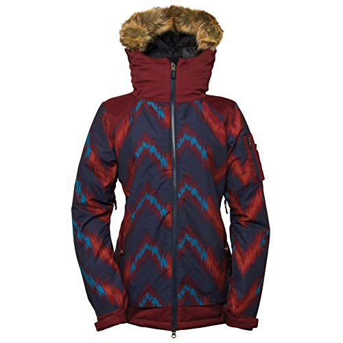 686 Women's Authentic Aerial Jacket, Navy Ikat Colorblock, X-Small