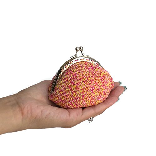 Crochet Coin Purse with Kiss Lock Closure - Pink Yellow Fuschia; Metal Frame Snap, Small Cotton Knit Coin Pouch, Accessories Cute Coin Purse