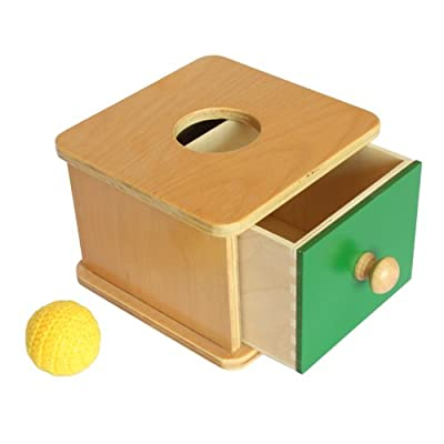 Montessori Imbucare Box w/ Knitted Ball: Toys & Games