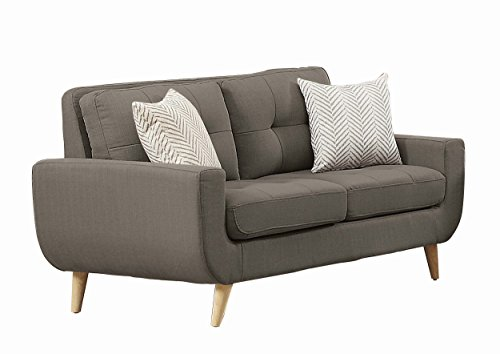 Homelegance Deryn Mid-Century Modern Loveseat with Tufted Back and Two Herringbone Throw Pillows, Grey by Homelegance
