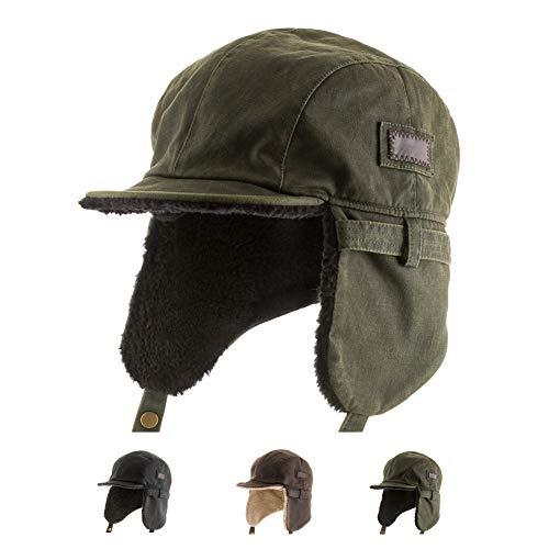 Best Pilot Trooper Aviator Cap Faux Leather Hat Ushanka Trapper Green 7 5/8
