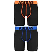 adidas Boy's Sport Performance Climalite Midway Underwear (2 Pack), Black/Solar Orange/Black/Shock Blue, Large/14-16