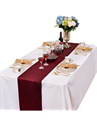 LOVWY Pack Of 10 Satin Table Runners 12 x 108 Inch For Wedding Party Engagement Event Birthday Graduation Banquet Decoration (Colors Optional) (Burgundy)