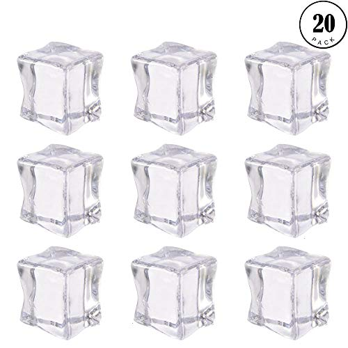 Photography Props,20PCS Acrylic Ice Cubes Transparent Ice Blocks Faux Artificial Clear Ice Cubes Ornaments Crystal Transparent Photography Kitchen Toys Props Decoration Wedding Art - Ice Ornament Cube