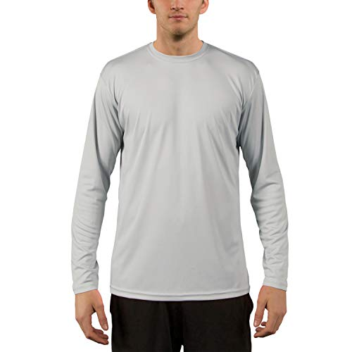 Simply Swim Mens Clothing - Vapor Apparel Men's UPF 50+ UV Sun Protection Performance Long Sleeve T-Shirt Large Pearl Grey