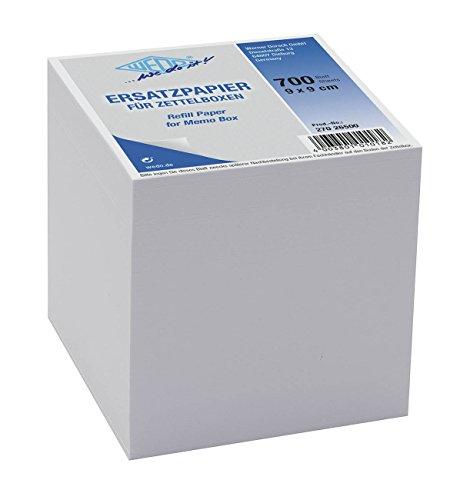 Wedo 27026500 Ersatzpapier für Zettelbox holzfrei, 9 x 9 cm, 700 Blatt, weiß