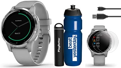 Garmin vivoactive 4S Gray Silver Premium Gift Set Bundle 2019 Model with Garmin Water Bottle, HD Screen Protectors PlayBetter Portable Charger Spotify, Music, Garmin Pay, Menstrual Tracking