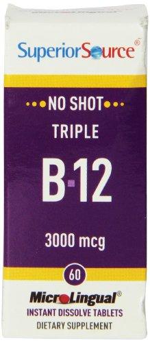 Superior Source No Shot Triple B12 Multivitamins, 3000 mcg, 60 Count
