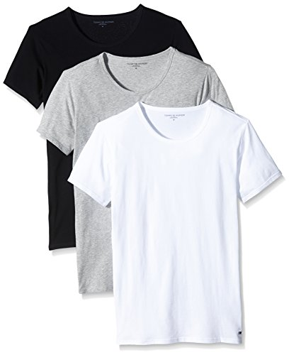 Tommy Hilfiger Herren T-Shirt, Uni Gr. Medium, Mehrfarbig - Multicolore (Black/Grey Heather Bc05/White)