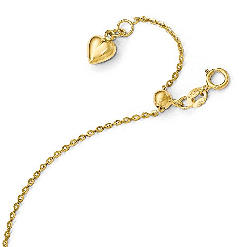 com yellow zirconia with bracelet gold anklet inch dp shaped amazon cubic heart inches