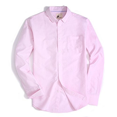 - Mens Dress Shirts Oxford Long Sleeve Washed Casual Button Down Shirt (Pink,XXLarge)