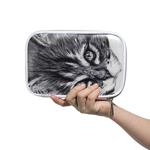 Special Cat Sketch Large Pencil Case Multifunction Leather Makeup Brush Set Bag Organizer Zip Bags]()