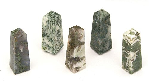 Green Moss Agate Polished Obelisk Carving 1 Supplied 50-60MM OBSKMA02 by Gifts and (Agate Obelisk)