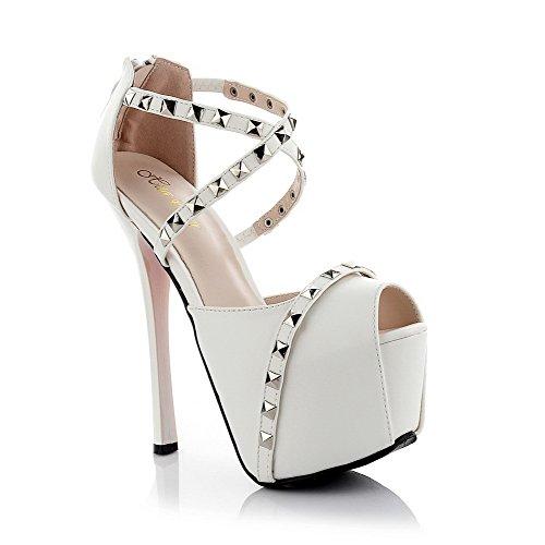 Material Damen High Weiß Toe Solide Peep Zipper Sandalen AgooLar Heels Weiches TdqYYtw