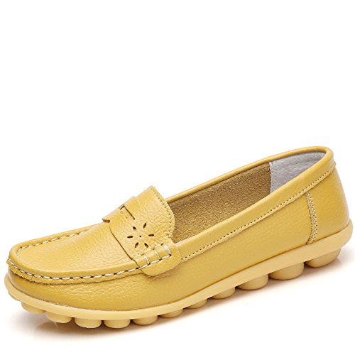 Soft Flat Slip Non Old Shoes Yangjiaxuan Leather Casual Mother Shoes Shoes Yellow Shoes wqSzZ