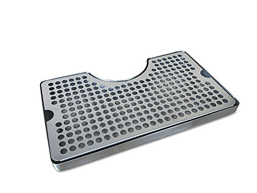 Non-Slip Rubber Padded Stainless Steel Drip Tray with Tower Cutout by Proper Pour (Rubber Tray Large)