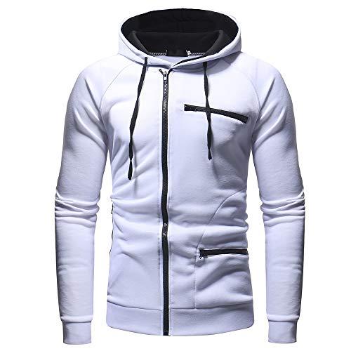 (Sunhusing Autumn Winter Fashion Men's Hooded Solid Color Turtleneck Sweatshirt Outwear)