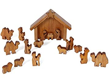 Amish-Made Wooden Nativity Manger Scene Set, 13 Pieces