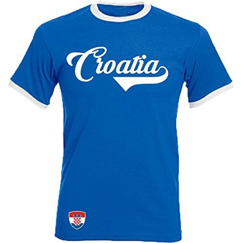 Kroatien - Ringer Retro TS - blau - EM 2016 T-Shirt Trikot Look Croatia