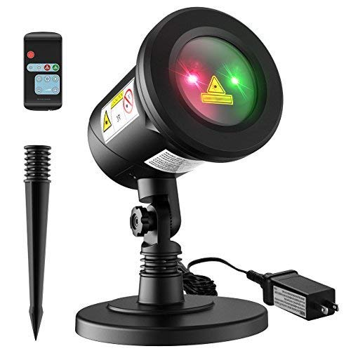Homitt Christmas Laser Projector Light, 8 Patterns Waterproof Landscape Lamp Moving Rotating Spotlight with RF Remote Control for Halloween, Party, Bar, Wedding, Living Room and Garden Decoration ()