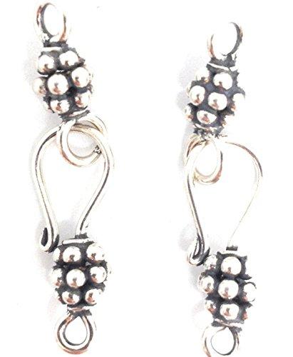 - 2 Sterling Silver Bali Beaded Hook Eye Clasp