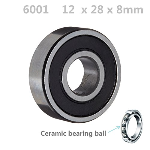 6001 2RS 12mm ID, 28mm OD, 8mm Width, Si3N4 Hybrid Ceramic Ball Bearing Rubber Sealed ABBOTT