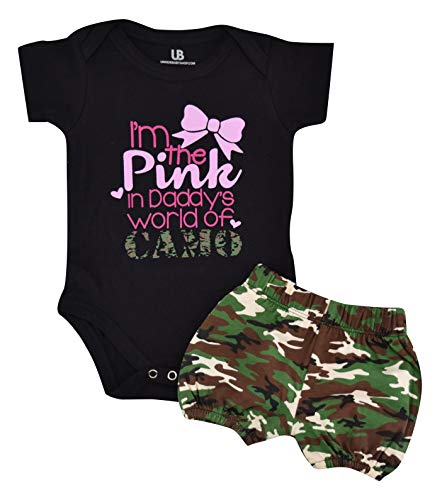 (Unique Baby Girls I'm The Pink in Daddy's Camo 1st Father's Day One Piece (3 Months))