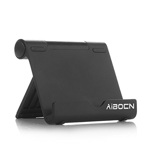 Aibocn Upgraded Multi-Angle Aluminum Stand for Tablets Smartphones and E-readers Compatible With iPhone iPad Air iPod Samsung Galaxy / Tab HTC Google Nexus LG OnePlus and More, Black