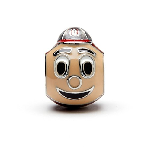 Ohio State University Charm | OSU Buckeyes - 3-D Brutus Buckeye Bead | Officially Licensed Ohio State University Jewelry | OSU Charms | OSU Brutus | OSU Gifts | Stainless Steel