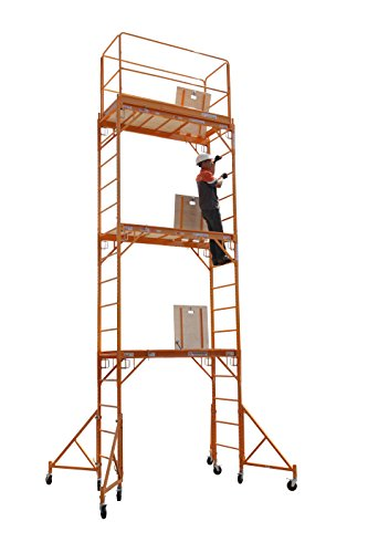 1000 Series Guard Rail - Scaffold Rolling Tower Standing at 17' High with Hatch Deck Guard Rail and U Lock Brace CBM1290
