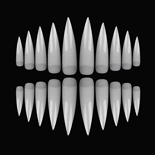 SIUSIO 500 Pcs Clear Stiletto Acrylic Style Large Half Cover Fake Nails Art Set for Nail Salon or Home(Natural) -