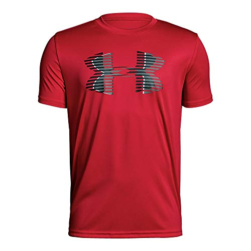 Under Armour Boys' Tech Big Logo Solid T-Shirt, Red (600)/Black, Youth X-Small