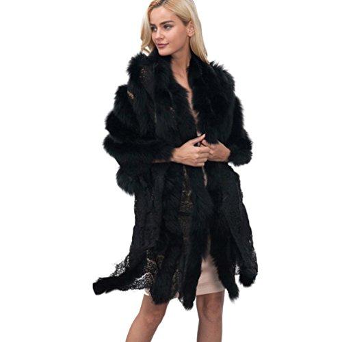 Sunward Women Luxury Bridal Faux Fur Shawl Wraps Cloak Coat Sweater Cape (Black) by Sunward