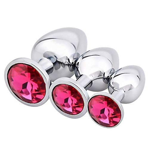 Christmas Gifts 3PCS Stainless Steel Pl-ugs with Round Shaped Jeweled Design Plug Anale Seoy Stimulation Toys for Fun-Store babypurple,Rose ()