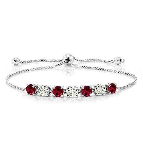 925 Sterling Silver Tennis Bracelet Round Red Created Ruby and Forever Classic Created Moissanite 0.99ct (DEW) by Charles & Colvard
